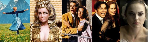Da esquerda para a direita: Noviça Rebelde, Cleópatra, Amor Sublime Amor, Moulin Rouge! - Amor em Vermelho, Cisne Negro. Todos relançados em Blu-Ray e DVD às vésperas do Oscar.